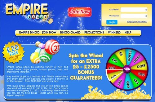 empire bingo new bingo site