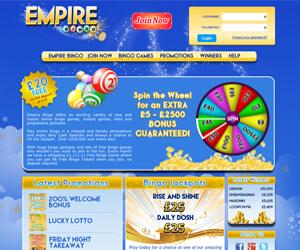 Empire Bingo Screenshot New Bingo Site