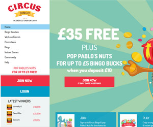 Circus Bingo Home page