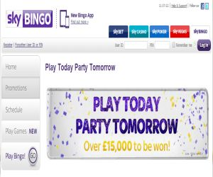 Sky Bingo Play Today Party Tomorrow