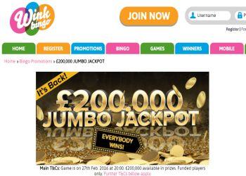 Wink Bingo 200K Jumbo Jackpot