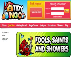 Tidy Bingo Fools & Showers Promo