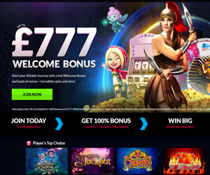Wicked Jackpots £777 bonus