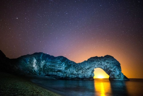 Durdle Door, Dorset, England Stars and Sunset