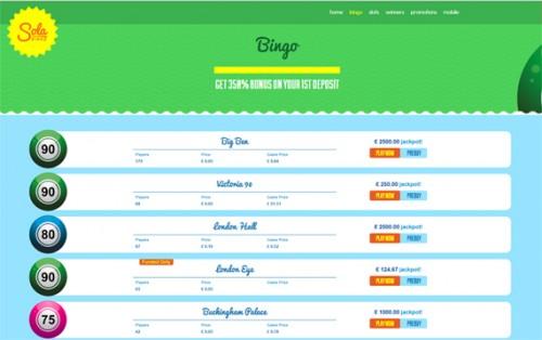 Sola Bingo No deposit bonus new bingo site