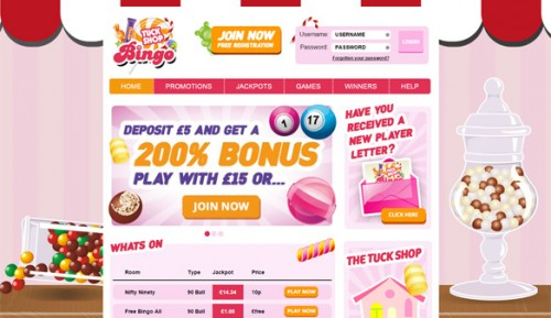 Tuck Shop Bingo Screenshot New Bingo Site